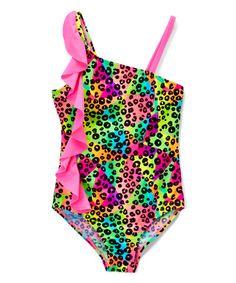Love this Pink Wild Prismatic One-Piece - Girls on #zulily! #zulilyfinds