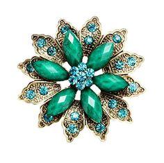 nice Dualshine Vintage Rhinestone Flower Leaf Wedding Brooch Bouquet Pins Jewelry Gold