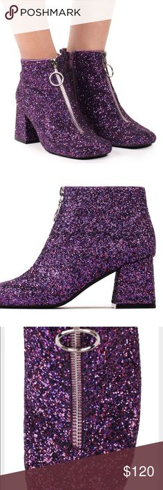 BRAND NEW Jeffrey Campbell Bossanova Glitter Boots Glitter-encrusted shoes are taking a different form this season.  Forget the predictable party shoe version, this time designers are putting glitter in more unpredictable silhouettes. The Jeffrey Campbell Bossanova hints at go-go girl, but slide these modern boots on and you with be in sync with the fashion rhythm this season. Inspired by YSL/Saint Laurent boots.  Glitter upper Man-made sole 2 1/2-inch heel Imported Jeffrey Campbell Shoes…