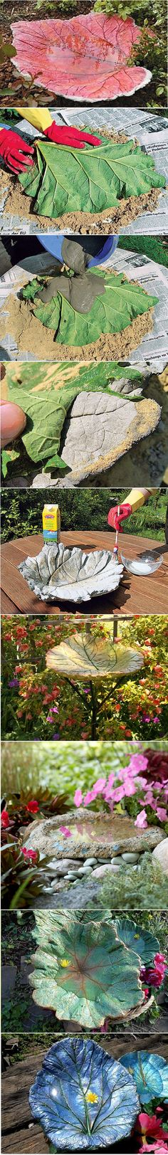 How To Make A Stand Cast Birdbath in Leaf Shape