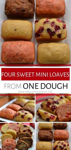 These mini loaf cakes recipe is a fun fall treat that kids will love! It is the perfect holiday recipe that is quick to come together and cooks perfectly in about 25 minutes. These Four Sweet Mini Loaves from One Dough are sure to impress guests! Mini Loaf Cakes, Mini Bread Loaves, Mini Loaf Banana Bread Recipe, Sweet Bread Loaf Recipe, Mini Loaf Pan, Bon Dessert, Dessert Recipes, Mini Cake Recipes, Dessert Bread