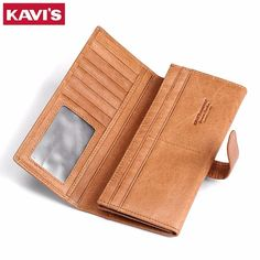 Buy now KAVIS Genuine Leather Men Wallet Fashion Coin Purse With Card Holder Vintage Long Wallet Clutch Wrist Bag Women Male Walet Handy just only $17.68 with free shipping worldwide  #walletsformen Plese click on picture to see our special price for you