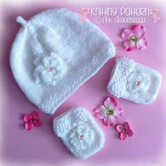 Knitting Pattern Baby Hat  and Mitts with Moss by PinkGingerbread