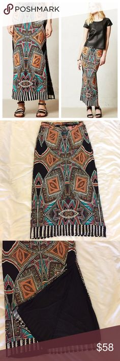 ANTHROPOLOGIE Maeve Moorea Maxi Skirt This skirt is in great condition! No signs of wear! Super soft fabric. Fabric tag is missing but I am guessing viscose. Has black fabric lining. Slit up one side. Made in the USA. 15 inches across the waist. Elastic waist. 34 inches long. Non-smoking pet free home.                          🔹suggested user • fast shipper🔹                        🔸bundle to save 15%🔸 Anthropologie Skirts Maxi