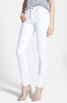 AG 'The Prima' Mid Rise Cigarette Jeans (White) available at #Nordstrom | perfect white jeans!!!