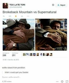 """I see no difference except for the hats! """"I wish I knew how to quick you destiel"""" LMAO Misha Collins, Dean Winchester, Jensen Ackles, Decimo Doctor, Supernatural Ships, Supernatural Wallpaper, Brokeback Mountain, Cockles, Great Love Stories"""