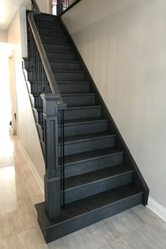 Grey Oak Custom grey oak stained staircase finished with
