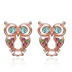 YIERLOVE New Design Crystal Women Charms Owl Stud Earrings Cute Colors Fashion Jewelry Rose gold color Trendy For Wedding