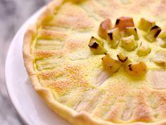 farine, beurre, jaune d'oeuf, eau, Sel, rhubarbe, sucre en poudre, oeuf, crème fraîche