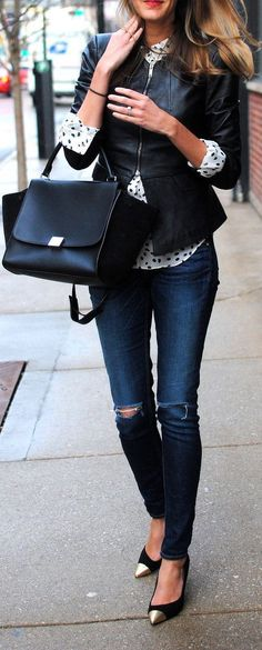 Polka dots blouse and leather jacket