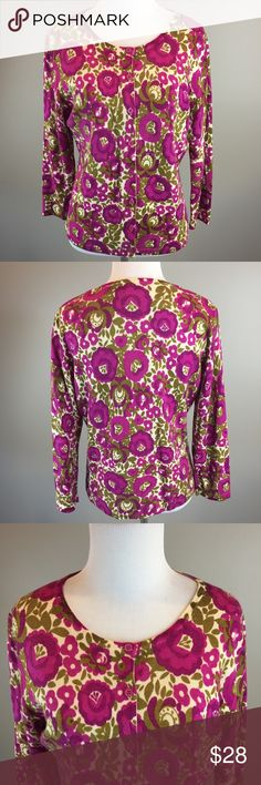 """Garnet Hill Merino Wool 3/4 Sl Floral Cardigan Measurements: Armpit to armpit laying flat 19"""" Length from top of shoulder to bottom of shirt 24"""" Good pre owned condition. Comes from a smoke free home.  Merino Wool garnet hill Sweaters Cardigans"""