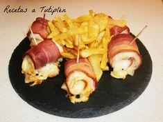 Rollitos de Pollo, Beicon y Queso 🎉🎉 Pollo Chicken, Recipe Images, Canapes, Sin Gluten, Tapas, Sushi, Shrimp, Sausage, Pork