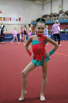 EUC Red Teal rhythmic gymnastics leotard dance by TopLeotards
