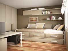small bedroom floating shelves