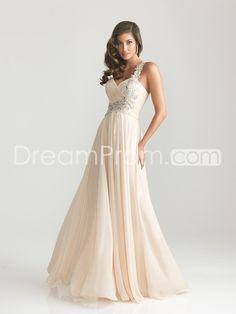 Chiffon Embellished One Shoulder Empire Waist Prom Dress