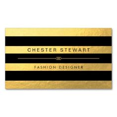 Luxury Gold Black Stripes - Custom Fashionable Double-Sided Standard Business Cards (Pack Of 100)