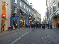 Strøget in Coppenhagen, Denmark- longest pedestrian street for shopping, eating & nightlife