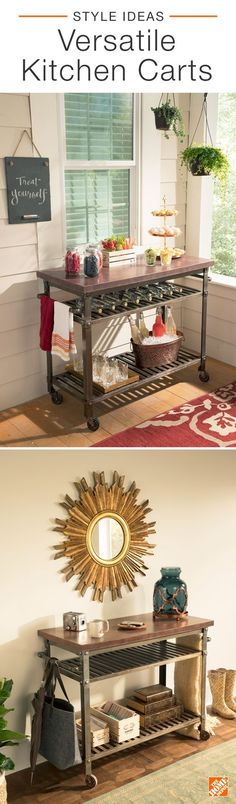 A versatile kitchen cart adds a touch of industrial charm and extra storage, which is perfect for entertaining. Add it to a hallway to give personality to a traditional space or utilize it on a porch for get-togethers. To give your cart a farmhouse twist, pair it with hanging plants and metallic decor. Click to shop  this aged metal kitchen cart.