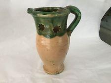 Vintage green glaze art pottery puzzle jug