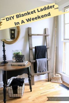 Do you have any scrap wood laying around and a few hours to kill? We were able to make this adorable Blanket Ladder using leftover wood for free. Here's how we did it. diy home decor | upcycle | diy upcycle | blanket ladder | diy ladder | diy blanket ladder | diy living room | living room