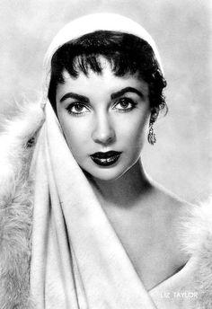 Elizabeth Taylor, wearing scarf