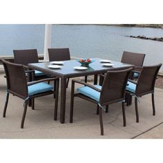 ElanaMar Designs Sonoma Outdoor Wicker 7 Piece Dining Set with Cushions Cushion Color: Navy