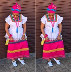 Winnie Mashaba takes today's outfit of the day crown in this colourful traditional sePedi outfit. Venda Traditional Attire, Setswana Traditional Dresses, South African Traditional Dresses, African Print Fashion, African Fashion Dresses, African Prints, African Attire, African Dress, African Wear