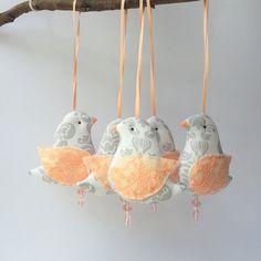 Birds ornament birds mobile toys set of 5 by CherryGardenDolls