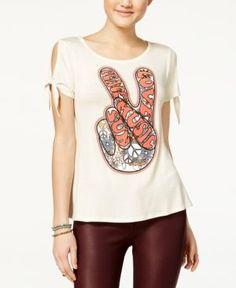 Belle Du Jour Juniors' Tie-Sleeve Graphic T-Shirt - White XL