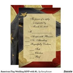 American Flag Wedding RSVP with Menu Card. You can get matching wedding invitations, thank you cards, guest books and more, #leatherwooddesign