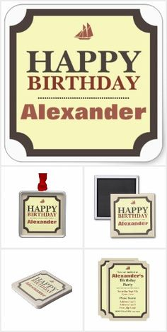 Happy Birthday, Cream, Brown, Red. Collection of party accessories and small gifts with this custom design. Add your name to personalize for a special birthday party. #ad