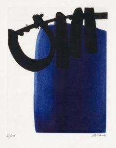 Pierre Soulages  (né en 1919) -  Eau-Forte XXI, 1973 -- Eau-forte en noir et bleu, épreuve à grandes marges, signée et numérotée 31/50, 45.5x36.1 cm