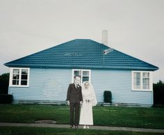 """Ava Seymour - """"White Wedding, Invercargill"""" - Photocollage from """"Health, Happiness and Housing"""", 1997, New Zealand"""