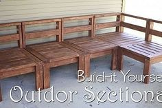 This DIY outdoor sectional was made for the backyard patio space, completely out of 2x4 lumber. The craftsmanship / woodworking looks fantastic! - gardenfuzzgarden