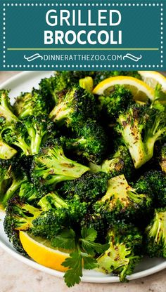 Grilled broccoli is packed with flavor and is a colorful and healthy side dish! Vegetable Recipes Easy Healthy, Roasted Vegetable Recipes, Broccoli Recipes, Healthy Side Dishes, Side Dishes Easy, Vegetable Side Dishes, Veggie Recipes, Easy Recipes, Vegetable Salads