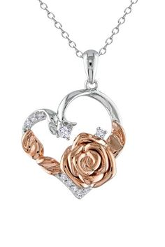 Two-Tone Diamond  amp  Rose Open Heart Pendant Necklace - 0.16 ctw by  Blushing 79a8660fb