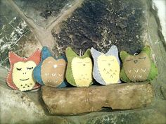 Hand Stitched Owls made by guests for baby's nursery