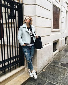 Styling Tips From Instagram To Liven Up Your Basics #refinery29  http://www.refinery29.uk/instagram-style-basics-tips-fashion#slide-2  Be bold with your biker jacketYes, a black leather biker is versatile and only gets better with age but why not branch out with a more adventurous colour like Estée Lalonde's pastel green shearling jacket. We love the addition of the frayed denim and ...