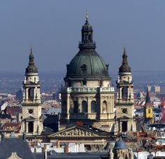 View of the dome and towers of St. Stephen's Basilica in Budapest (March 2014) - Photo taken by BradJill