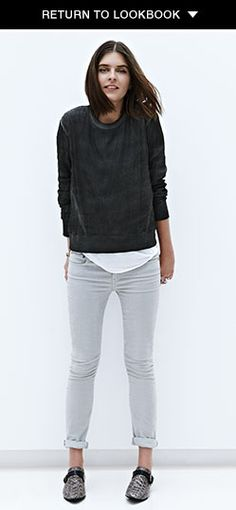 Helmut Lang skinny grey corduroy pants and sweatshirt with ribbing
