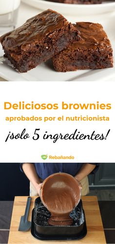 La mejor receta de brownies, aprobada por un nutricionista ¡y con solo 5 ingredientes! The best recipe for brownies, approved by a nutritionist and with only 4 ingredients! Healthy Brownies, Best Brownies, Healthy Desserts, Delicious Desserts, Yummy Food, Boxed Brownies, Cake Brownies, Blondie Brownies, Best Brownie Recipe