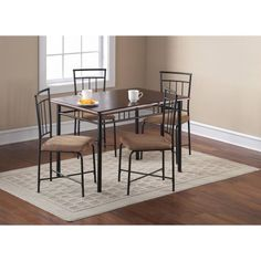 Mainstays 5-Piece Wood and Metal Dining Set, Multiple Colors - Walmart.com