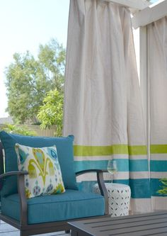 DIY These Easy Drop Cloth Outdoor Curtains For Under $50