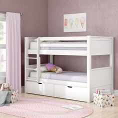 Harriet Bee Ayres Twin Loft Bed with Drawers Underbed Storage Drawers, Bunk Beds With Storage, Wood Bunk Beds, Bunk Bed With Trundle, Modern Bunk Beds, Full Bunk Beds, Bunk Beds With Stairs, Kids Bunk Beds, Under Bed Storage