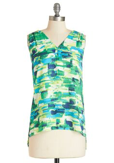 Innovative Paintings Top. The innovation shown in your unique paintings can also be attributed to the styles you create, as exhibited by this breezy blouse. #green #modcloth