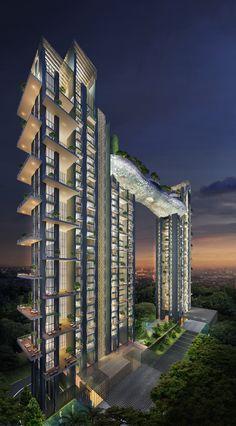 ATMOSPHERE, KOLKATA, INDIA | Two residential towers rising 37 floors above ground linked by a 3-storey skyclub spanning 60 meters between between, at 30 floors above ground.