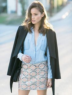 Jamie Chung wearing a Chambray top with embroidered mini skirt and coat worn over shoulders Jamie Chung, Casual Chic, Spring Summer Fashion, Spring Outfits, Embellished Skirt, Chambray Top, Blazer, Mode Inspiration, Fashion Inspiration