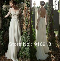 Bateau A-line Backless Wedding Dress Sheer Sleeve Applique Ribbon Chiffon Lace Berta Bridal Winter Long Sleeve Wedding Dresses $136.00