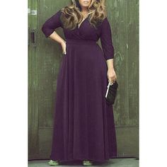 a7d98d0699cb Wholesale Sexy Plunging Neckline 3 4 Sleeve Plus Size Solid Color Dress For  Women Only