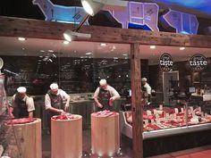 Butcher Store, Local Butcher Shop, Meat Restaurant, Restaurant Design, Butcher Restaurant, Carnicerias Ideas, Meat Store, Bistro Kitchen, Supermarket Design